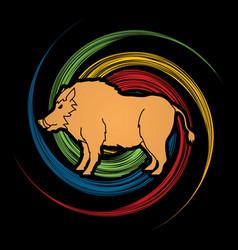 boar wild hog pig standing vector image