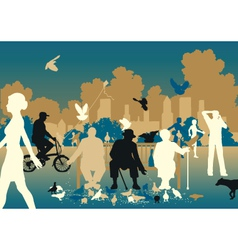Feeding pigeons vector image vector image