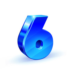 glossy blue six 6 number 3d on white vector image