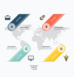 icons and infographic design on map background vector image vector image