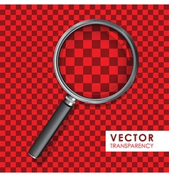 magnifying glass transparency on checkered red vector image vector image
