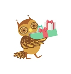 Owl Cute Animal Character Attending Birthday Party vector image