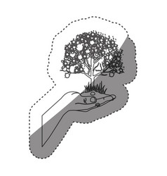 sticker grayscale contour with leafy tree over vector image