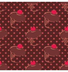 Tile brown cake pattern on dots background vector image vector image