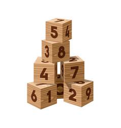 wooden bricks building tower vector image