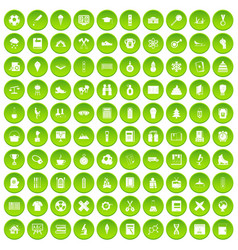 100 school years icons set green circle vector