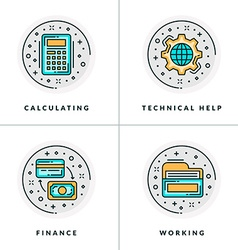 A set of four icons on business issues and vector