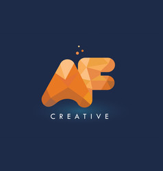 Af letter with origami triangles logo creative vector