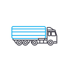 Articulated lorry thin line stroke icon vector
