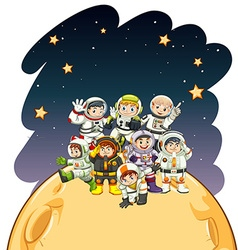Astronaunts standing on the planet vector