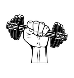 athlete hand with dumbbell design element vector image