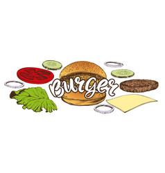 big burger hamburger hand drawn vector image