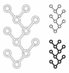 binary tree mesh carcass model and triangle vector image