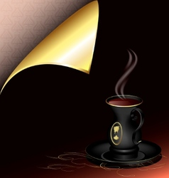 black cup and golden corner vector image
