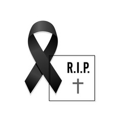 Black ribbon rest in peace with frame vector
