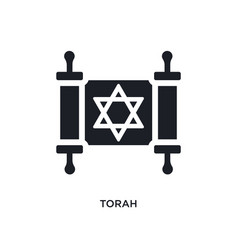black torah isolated icon simple element from vector image
