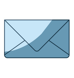 Blue shading silhouette of envelope mail in vector