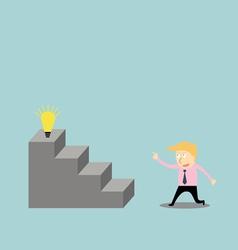 Businessman climbing the ladder of idea vector image