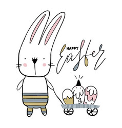 Card with calligraphy lettering easter with bunny vector