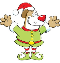Cartoon dog wearing an elf costume vector