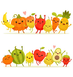 Cartoon fruits and vegetables in group vector