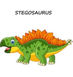 cartoon happy stegosaurus isolated vector image
