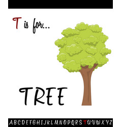 Cartoon of capital letter t with tree vector