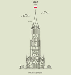 cathedral st stanislaus in lodz poland landmark vector image