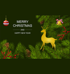 christmas and new year greeting card design vector image
