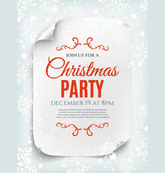 Christmas party invitation poster on winter vector