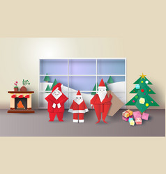 christmas room interior with santa family vector image