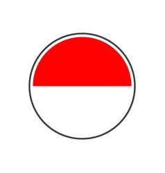 Circle indonesia flag with icon isolated on white vector