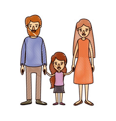Color crayon stripe cartoon family with father vector