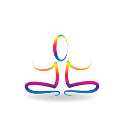 Colorful yoga meditating person isolated vector
