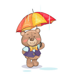 Cute teddy-bear stand under umbrella rainy weather vector