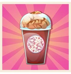 delicious cold caramel frappe ice-cream vector image