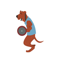 Dog exercising with barbell funny sportive wild vector