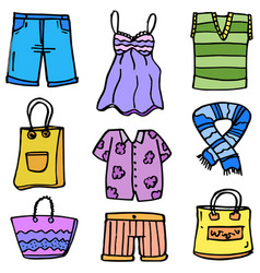 Doodle of clothes women object set vector