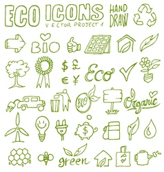 eco icons hand draw 1 vector image