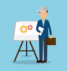 Engineer with under construction icons vector