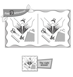 find 9 differences game origami vector image
