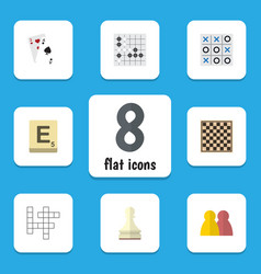 Flat icon entertainment set of gomoku guess vector