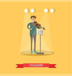Flat of violinist performing vector