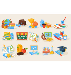 Flat set of various school items for vector