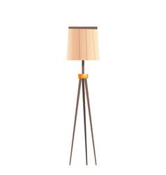 Floor lamp with beige shade lighting equipment vector