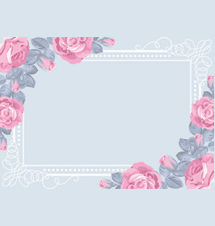 Flora card template with roses and frame vector