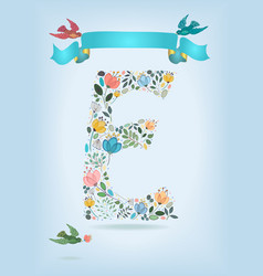 Floral letter e with blue ribbon and three doves vector