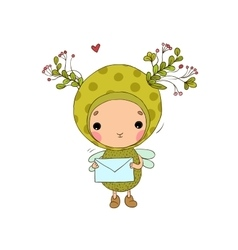 Forest Fairy and heart on a white background vector