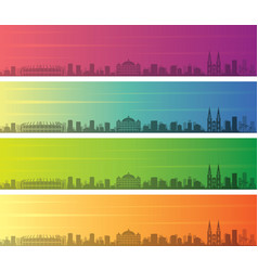 Fortaleza multiple color gradient skyline banner vector
