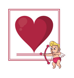 Fram with heart and cupid vector
